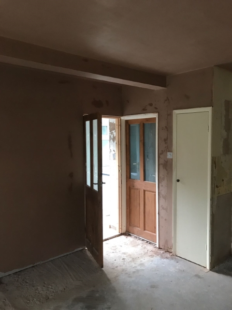 Plastered ready for kitchen fit