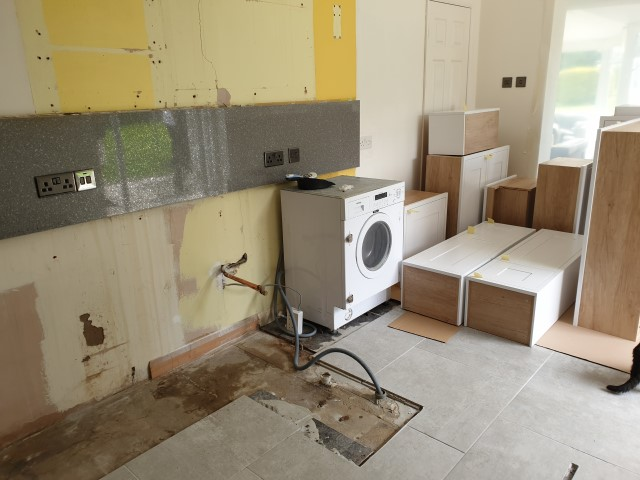 OLD KITCHEN TAKEN OUT READY FOR NEW