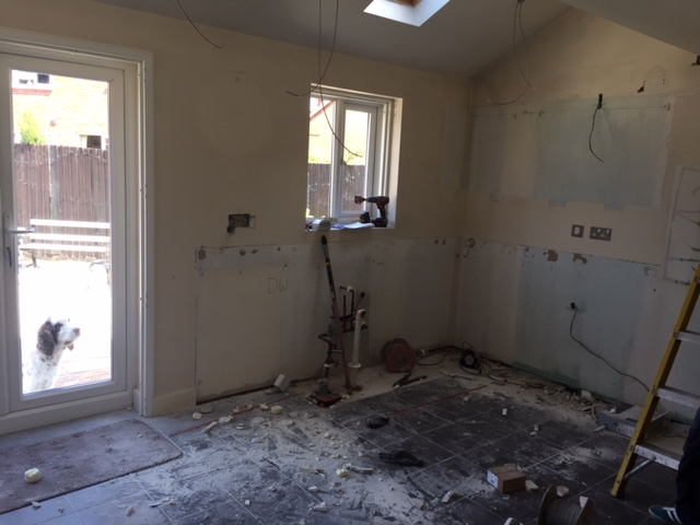 Kitchen out, ready to plaster/electrics/tiling